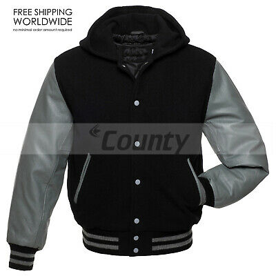 Letterman Baseball Hoodie Bomber Varsity Jacket Black Body ...