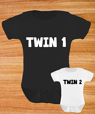 Twin 1 Twin 2 Matching Baby Grow Set Bodysuit Vest Funny Humour Gift Twins