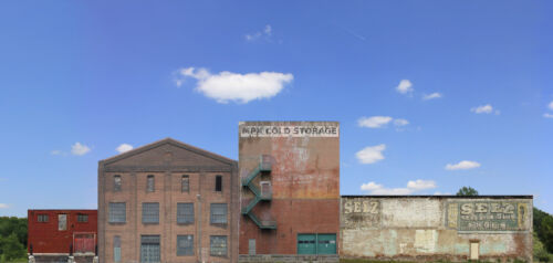 #908 O scale  INDUSTRY SET #3 four background buildings  *FREE SHIPPING*