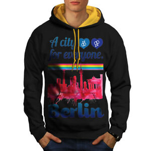 Hood gold Black Love Pride Berlin Urban Hoodie New Men Contrast PqBgzxwB8