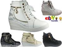 Ladies Womens Wedge Mid Heel Trainers Platform Sneakers High Top Hi Ankle Boots