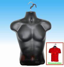 New Male Mannequin Formhard Plastic Manikin Display Torso Men T Shirt Black