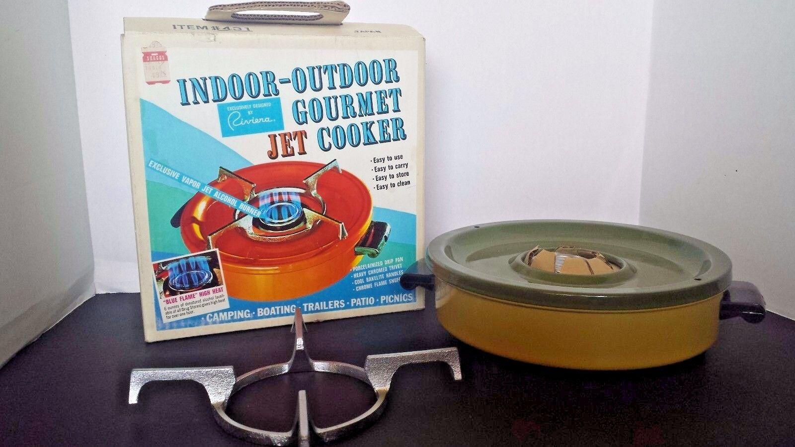 Vintage INDOOR OUTDOOR Gourmet COOKER Riviera Vapor Jet BURNER  RV Camping