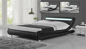 Image Is Loading Modern Designer LED Headboard Low Bed Frame Single