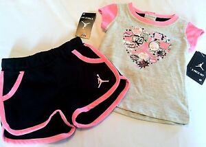 18ad29c0cf NEW Girls air JORDAN CHICAGO size sz 6 9 months 2pc set shirt ...