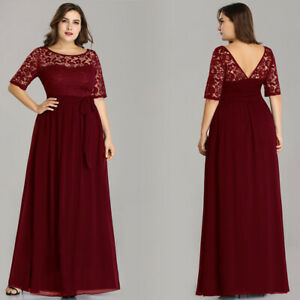Details about Ever-Pretty Plus Size Bridesmaid Dresses Lace Chiffon Evening  Prom Gown Burgundy