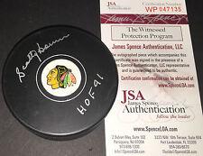 Scotty Bowman Chicago Blackhawks Autographed Signed Hockey Puck JSA COA HOF 91