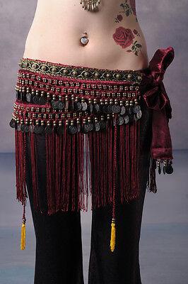 Belly Dance Costume Hip Scarf Tribal Fringe Tassel Belt&Copper Coins 3 colours