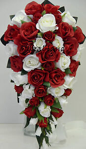 Wedding Bouquet Silk Red White Rose Teardrop Bouquets Artificial Posy