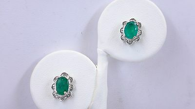 ESTATE COLUMBIAN EMERALD AND 14KT WHITE GOLD EARRINGS, A STUNNING SET!!!