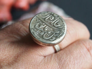 antik-Siegel-Ring-islamische-arabische-Munze-islamic-silver-coin-Ring-Nr-393