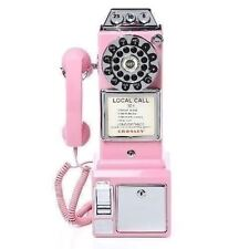 Vintage Wall Pay Phone Pink Retro Coin Telephone Rotary Dial Modern Replica Vtg