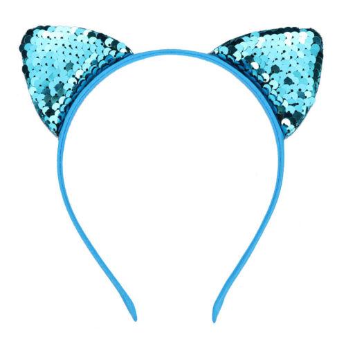 72 Colors Cat Ear Heart Flip Sequins Hairband Headband Dot 1PC Kids Mermaid