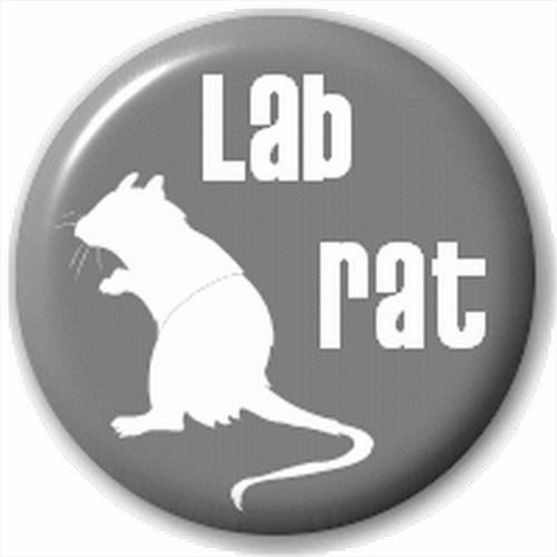 Small 25mm Lapel Pin Button Badge Novelty Lab Rat