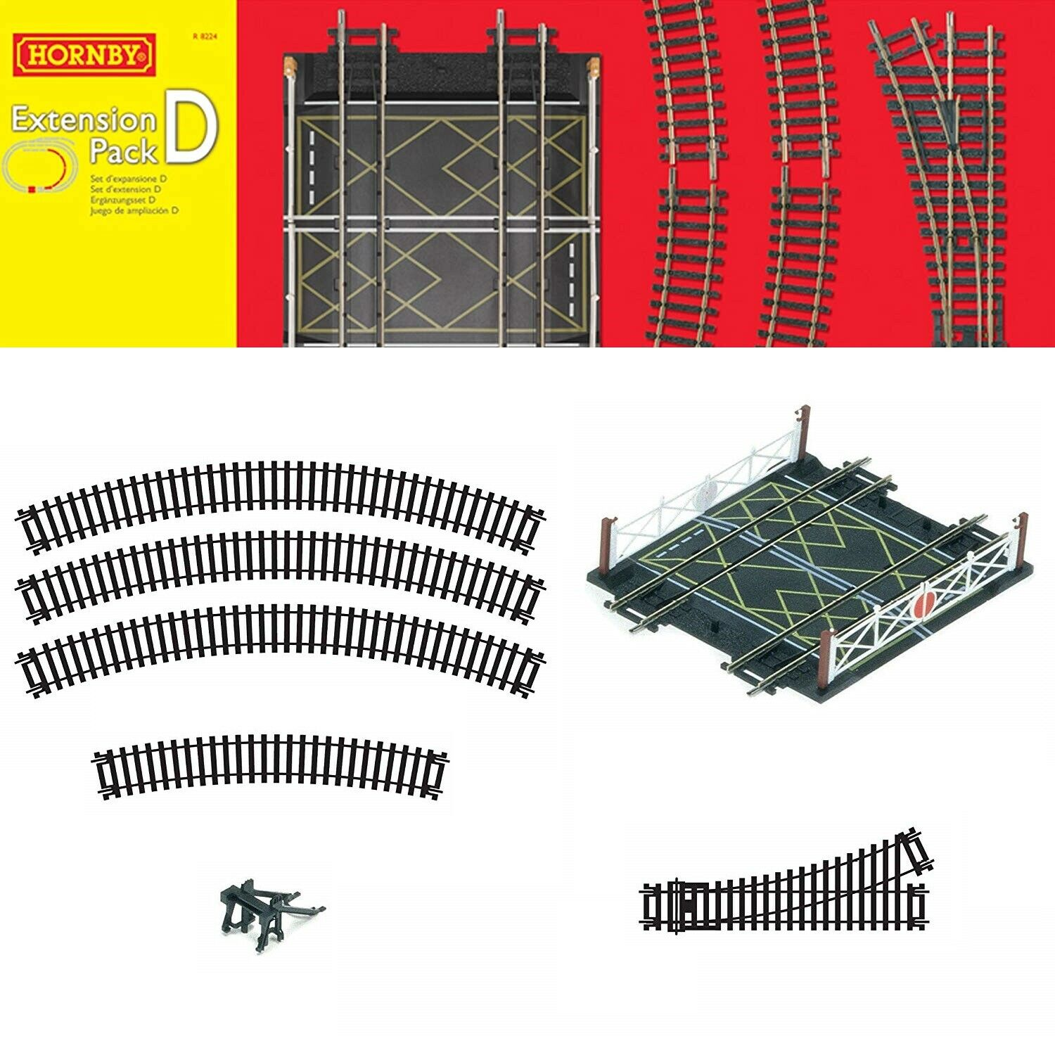 Genuine Hornby Trakmat OO modello Train Track Extension doppio Crossing Splitter
