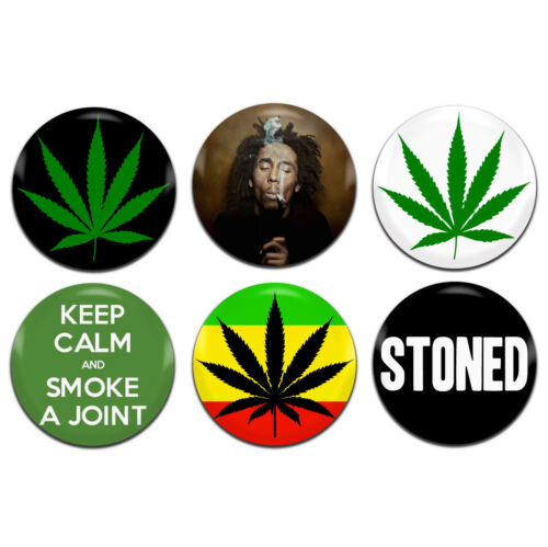 6x Cannabis Weed 25mm 1 Inch D Pin Button Badges