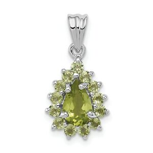 SALE 10pcs B083 Rhodium plated Peridot Green Framed Glass Pear Cut drop pendant