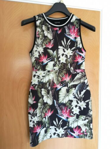 Size Dress Party Casual Black Stretch Floral Bodycon 8 Topshop Ladies Mini 10 wUq4UZE