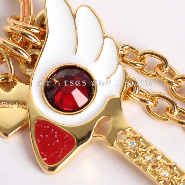 Card Captor Sakura New Wand Birdhead Coloured Diamond Keychain Key Ring Decor