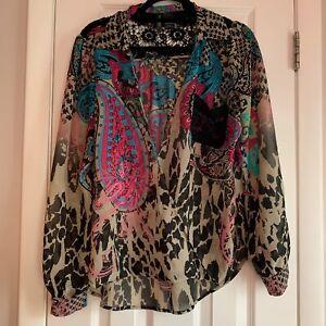 Bisou-Bisou-Blouse-Size-Large-Lace-Detail-Wrap-Front