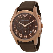 Emporio Armani Chronograph Brown Dial Brown Leather Strap Mens Watch AR1701