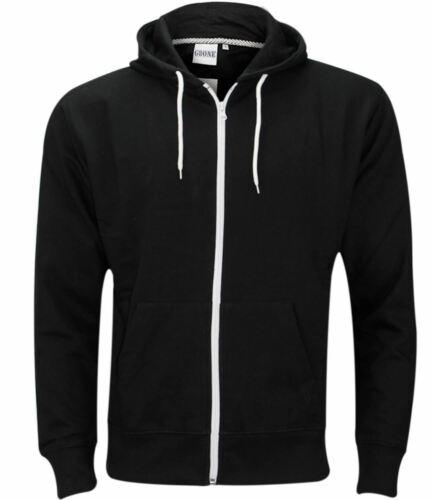 Plain Mens American Fleece Zip Up Hoody Sweatshirt Hooded Zipper Top S-5XL New