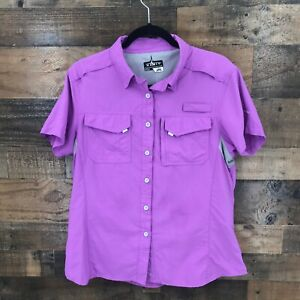Habit-Women-039-s-Purple-Short-Sleeve-Vented-Back-Button-Up-Fishing-Shirt-Size-L