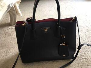 Image Is Loading Prada Saffiano Cuir Double Bag Covered Strap Medium