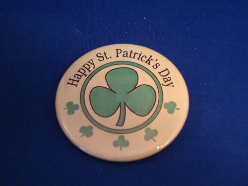 "HAPPY ST NEW IRISH SHAMROCKS PATRICK/'S DAY BUTTON pin pinback 2 1//4/"" badge Big"