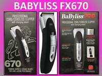 Babyliss Pro Forfex 670 Professional Cord / Cordless Hair Clipper & Stand Fx670r