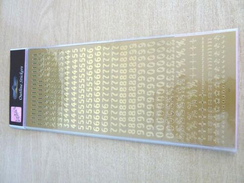 Étiquettes Stickers Pour Craft WD-12 Petit Doré Brillant Adhésif Numéros 0-9