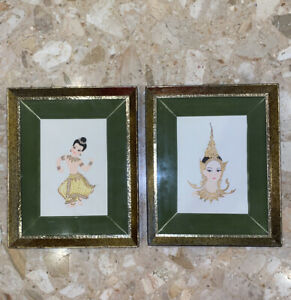 2-VTG-7x5-Hand-Gold-Painted-Balinese-Dancers-9x11-Wood-Framed-Velvet-Border
