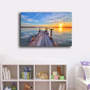 50-80-3cm-Beach-Side-Wharf-Canvas-Print-Framed-Wall-Art-Home-Decor-Painting