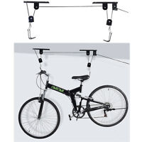 Bike Bicycle Lift Ceiling Mounted Hoist Storage Garage Hanger Pulley Rack on sale