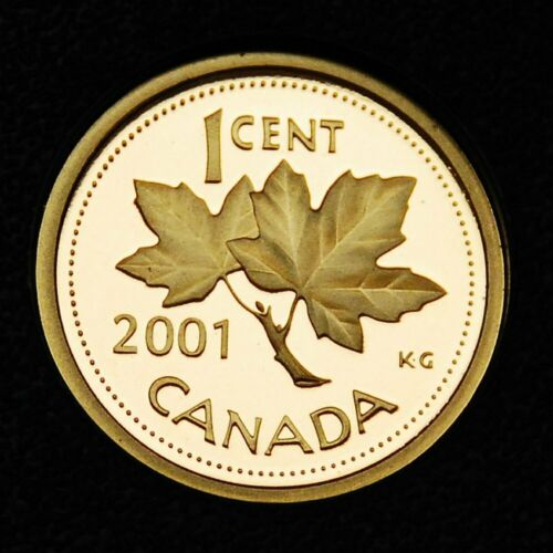 2001 1¢ penny that is ultra cameo proof from the proof set