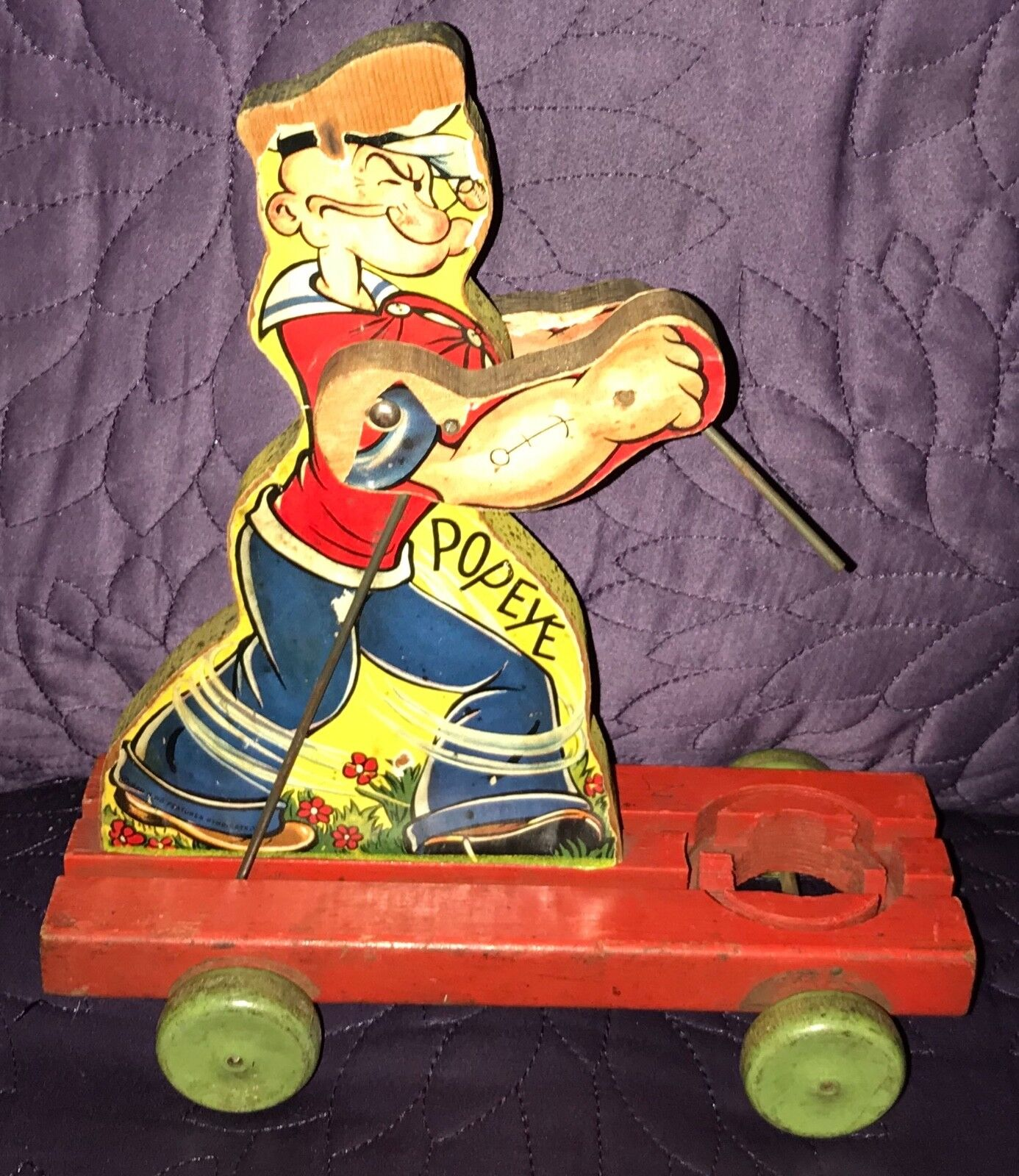 FISHER PRICE  POPEYE  SPINACH EATER    C. 1930'S  PULL TOY bb1a9a