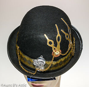 4d5f9f1ebcf Steampunk Bowler Hat Black Felt With Gold Ribbon Trim and Assorted ...