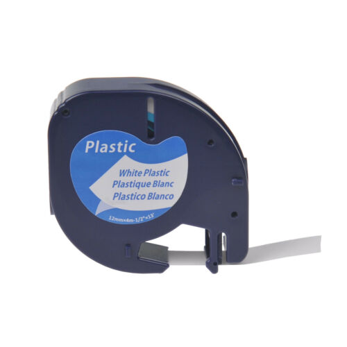 """Platic Label Tape for DYMO Letra Tag 12MM LT100T 91331 91201 Black on White 1//2/"""""""