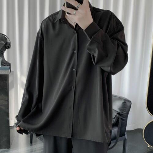 Men Faux Silk Satin Shirt Loose Long Sleeve Button Blouse Top Party Clubwear