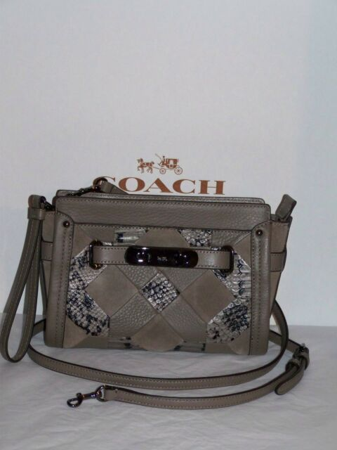 01d87fd2cd6 Coach Swagger Wristlet Crossbody Patchwork Exotic Embos Leather F65140  350  NWT