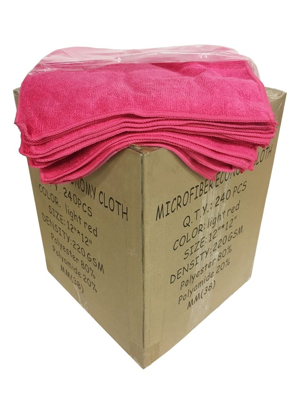 240 Case 12 x12  Economy Grade Microfiber Cleaning Cloths Auto 220GSM Pink
