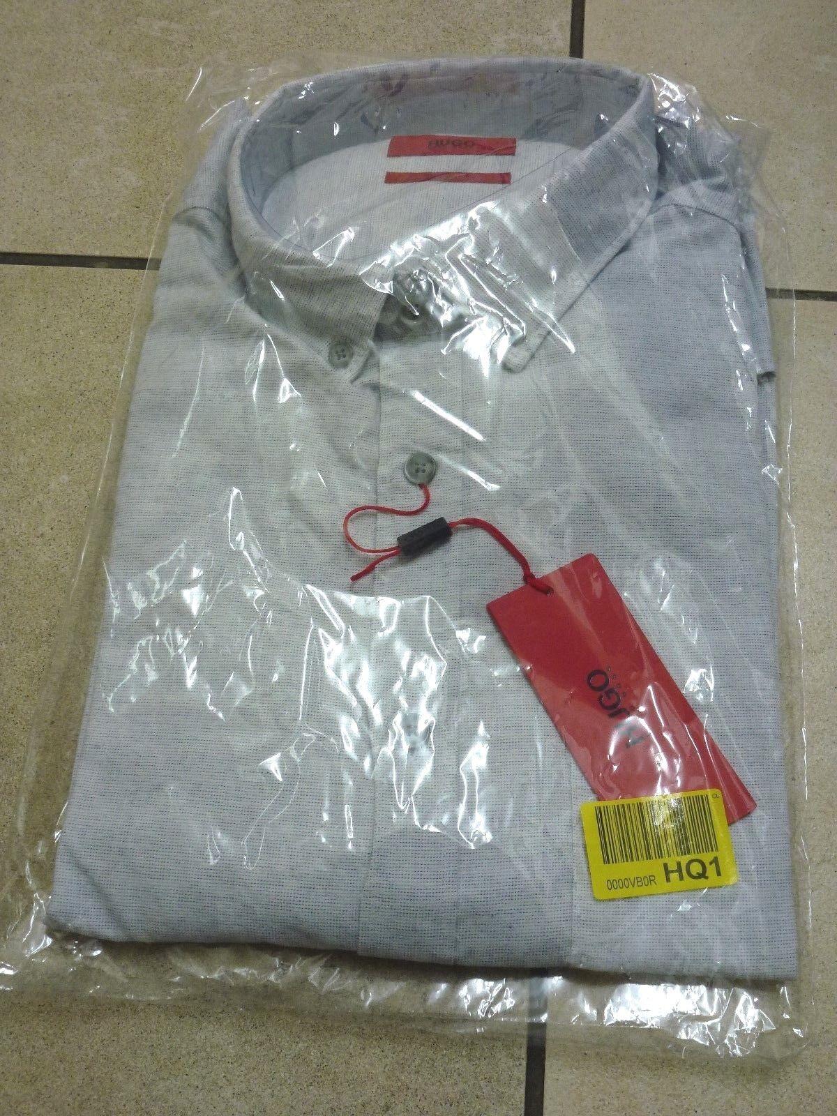 Hugo Boss Mens L Sleeve Emingway Micro Dot Shirt Large BNWT RRP  Light Grey