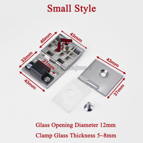 NEW 4PCS Glass Cabinet Hinges Wine//Display Cabinet Door Hinge Glass Clamp Hinges