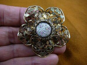Vintage Multi Color Flower Design Czech Glass Filigree Pin Brooch 2