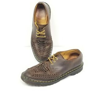 Dr-Doc-Martens-Ezra-Homme-Taille-10-Interwoven-vieilli-cuir-Chaussures-Oxford-Marron