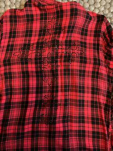 True Religion Karohemd Hemd Bluse rot / schwarz Strass Gr. S / 36 kleine 38 - Lauf, Deutschland - True Religion Karohemd Hemd Bluse rot / schwarz Strass Gr. S / 36 kleine 38 - Lauf, Deutschland