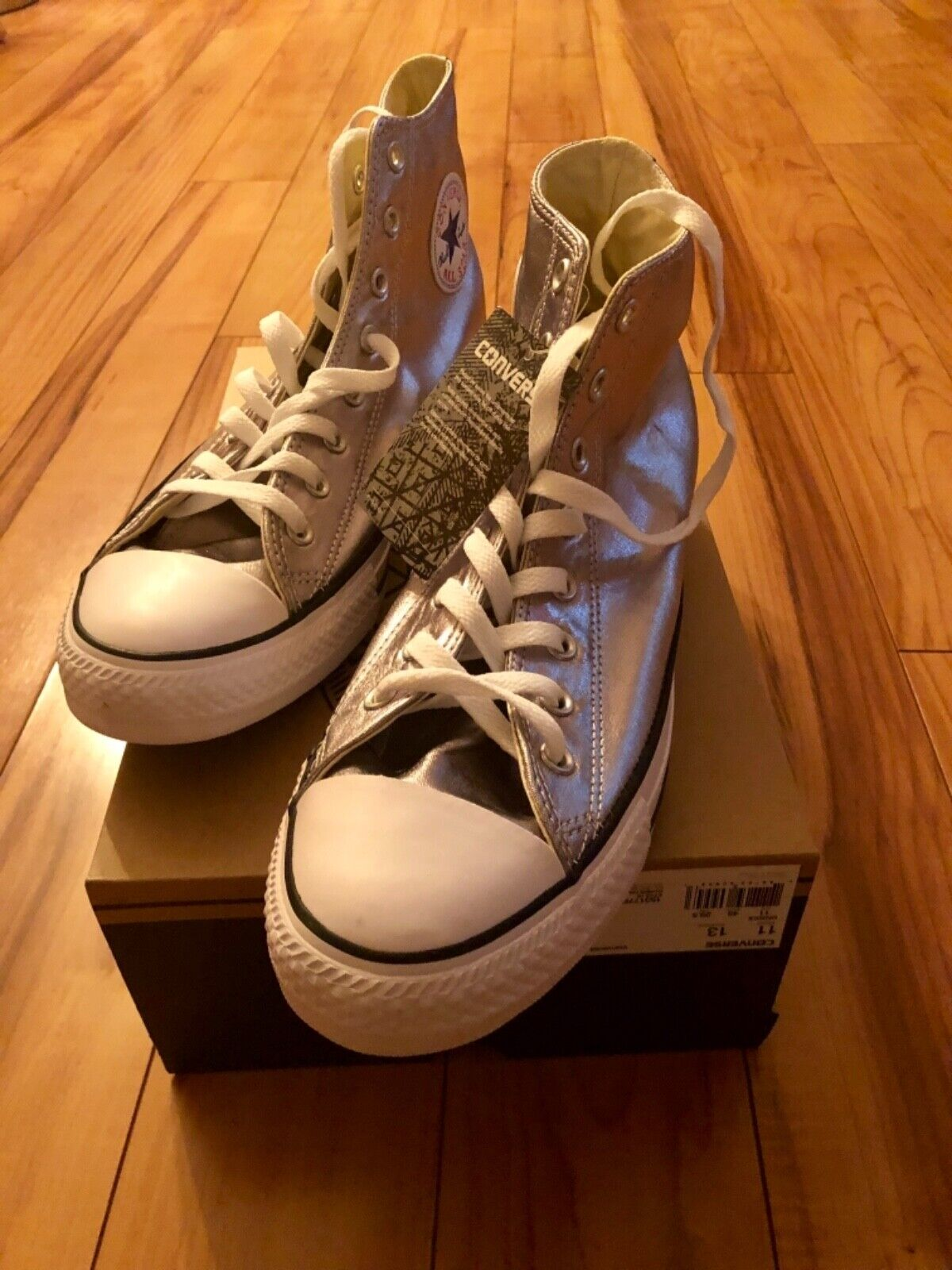 Converse Size 11 Silver Metallic High Tops New Mens Brand New shoes