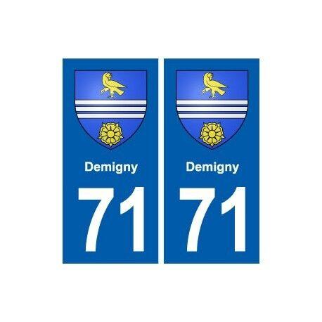 71 Demigny blason autocollant plaque stickers ville arrondis