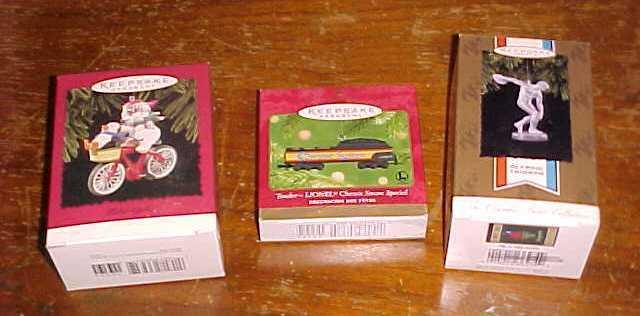 3 Hallmark Keepsake Ornaments in Original Boxes 2-1996 & 1-2001
