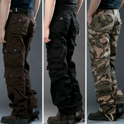 Mens Work Tactical Pants Army Military Combat Cargo Camo Combat Long Trousers US